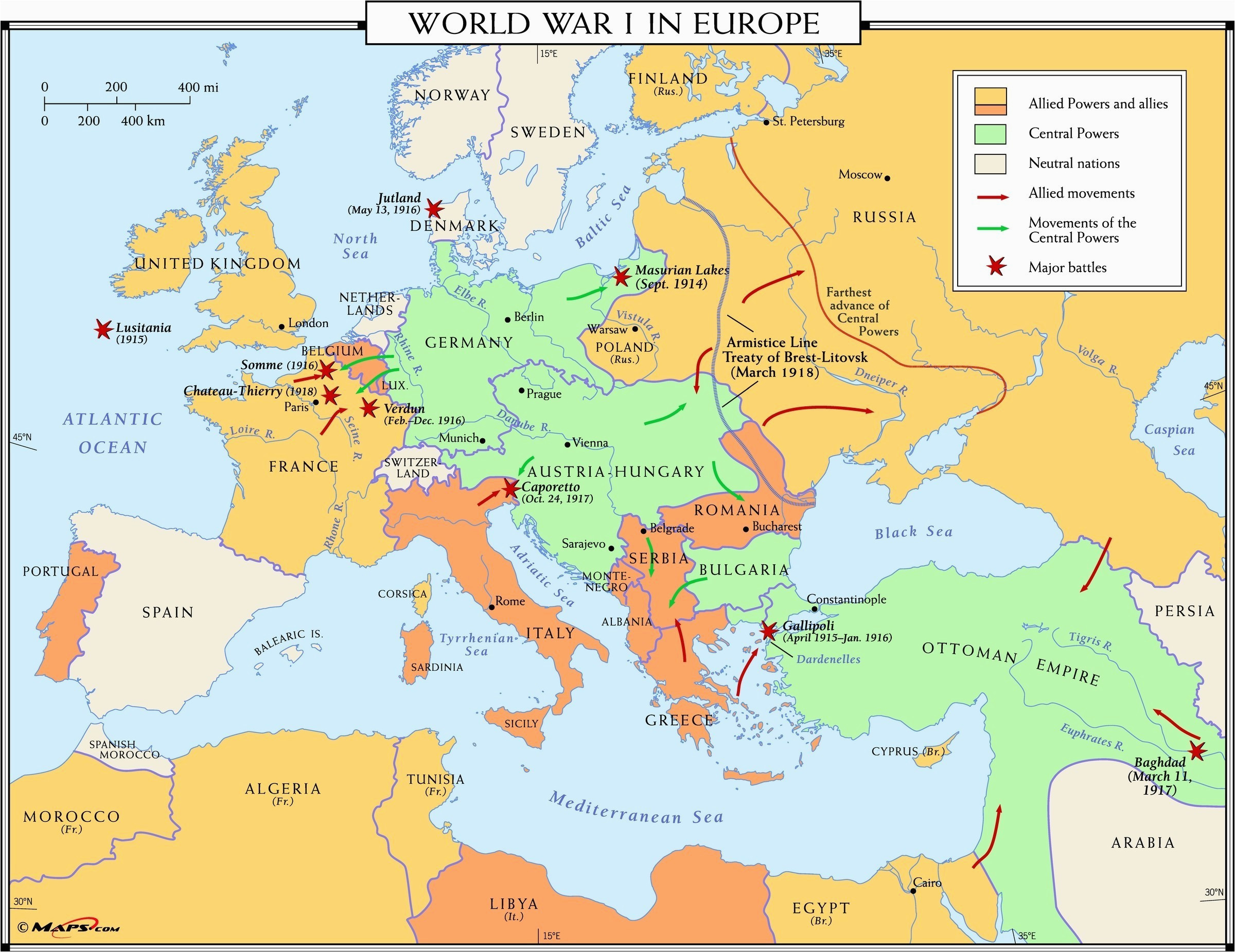 10 explicit map europe 1918 after ww1