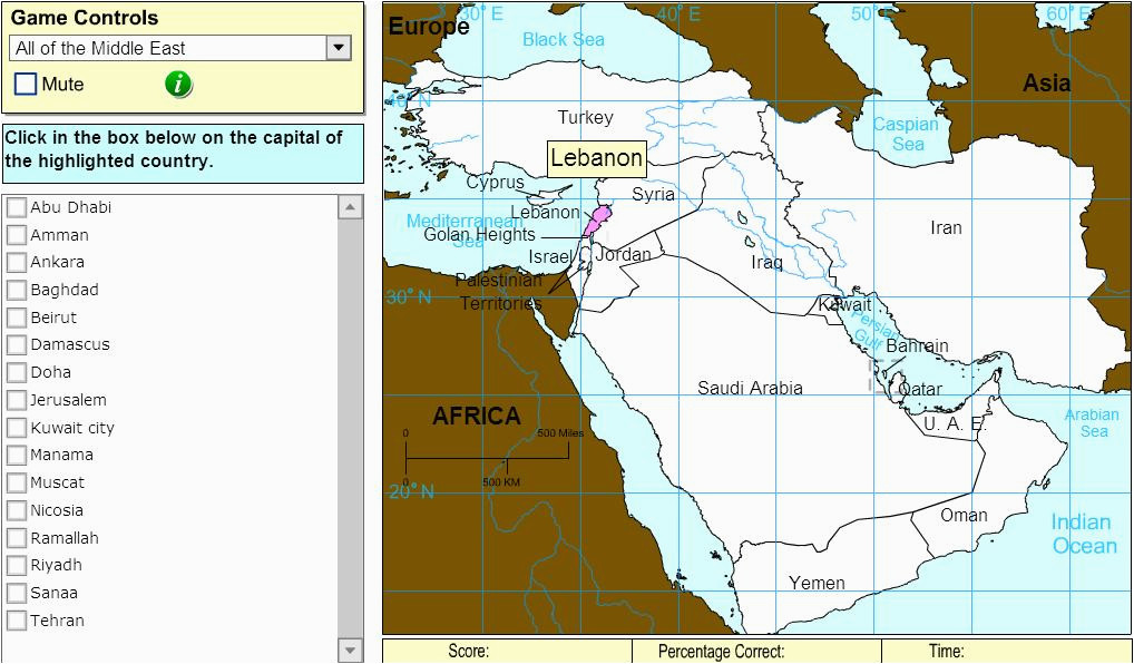 interactive map of middle east capitals of middle east