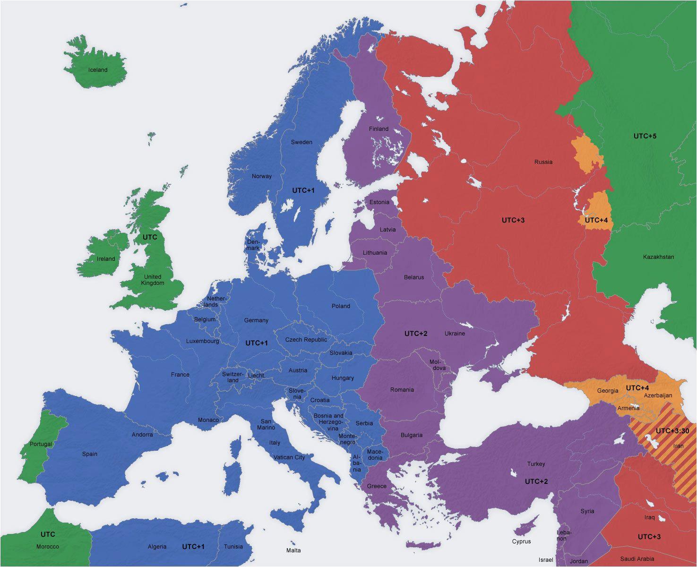 Europe Map Time Zones Europe Map Time Zones Utc Utc Wet Western European Time