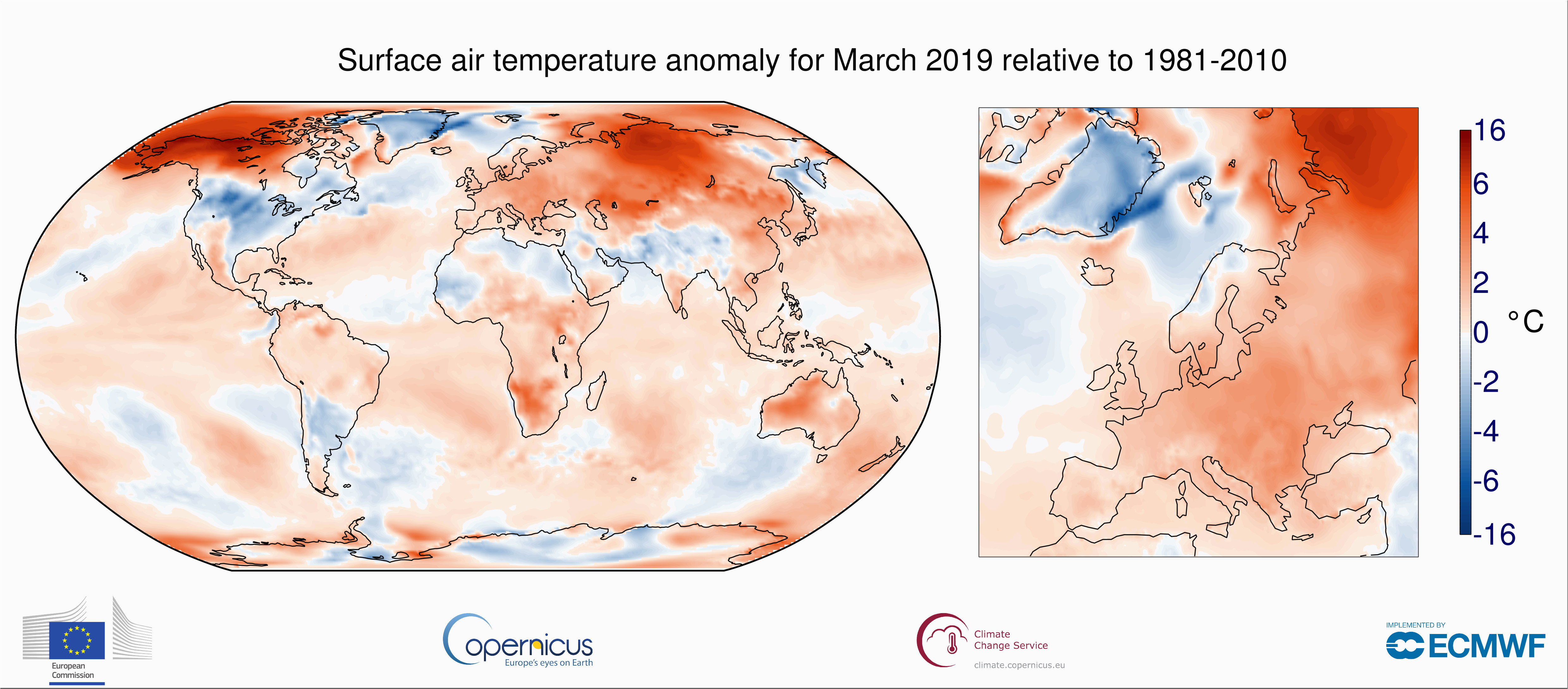 surface air temperature for march 2019 copernicus