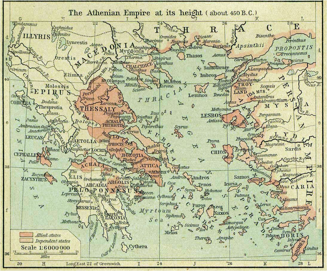 athenian empire at its height map google search card