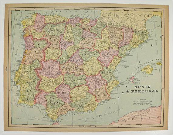 vintage spain map portugal holland map belgium denmark map