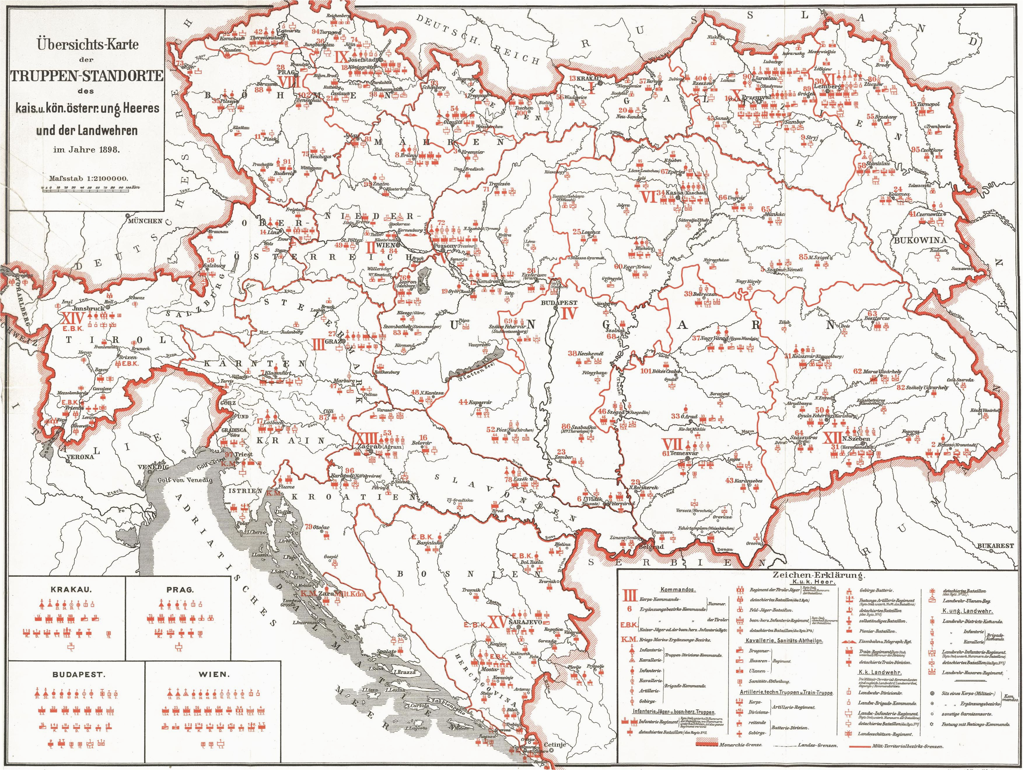 garrisons of the austro hungarian empire 1898 full size