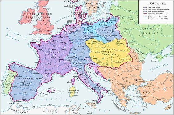 a map of europe in 1812 at the height of the napoleonic