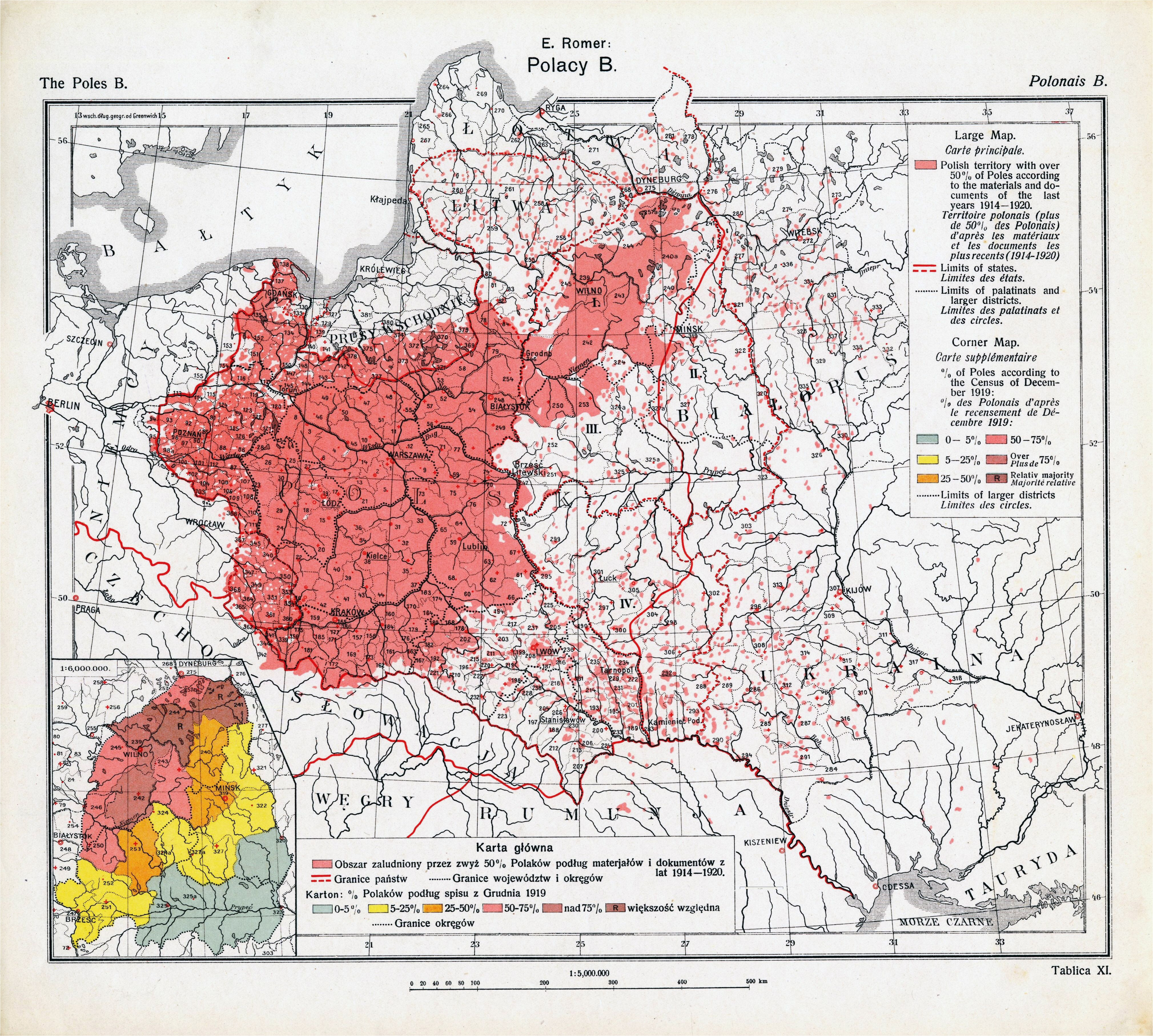 a 1921 map of polish majority areas in europe after the end