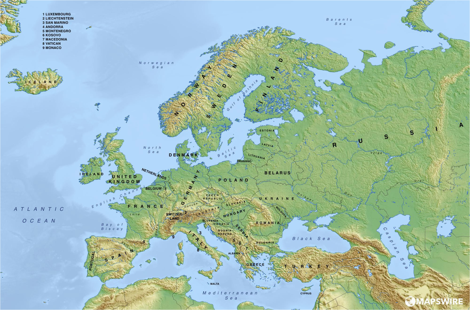 europe blank physical map lgq me