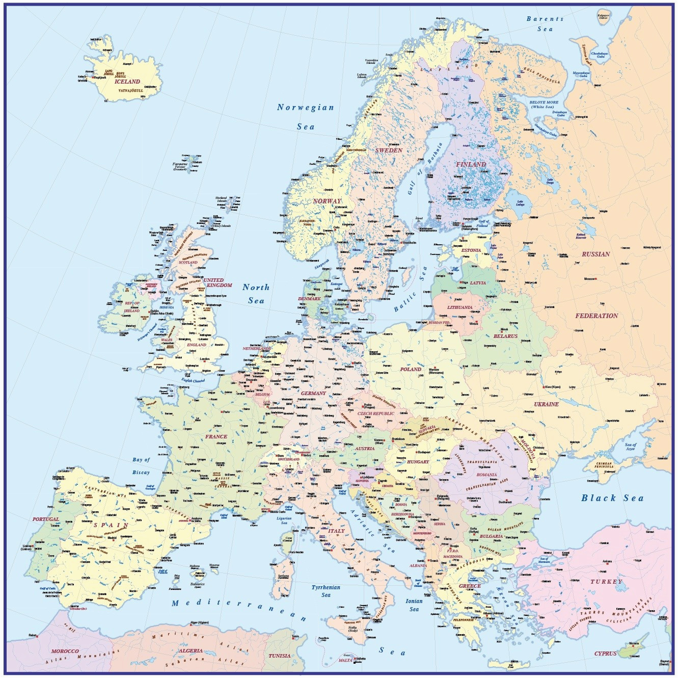 europe without borders accurate maps