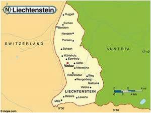 liechtenstein travel and tourist information map of