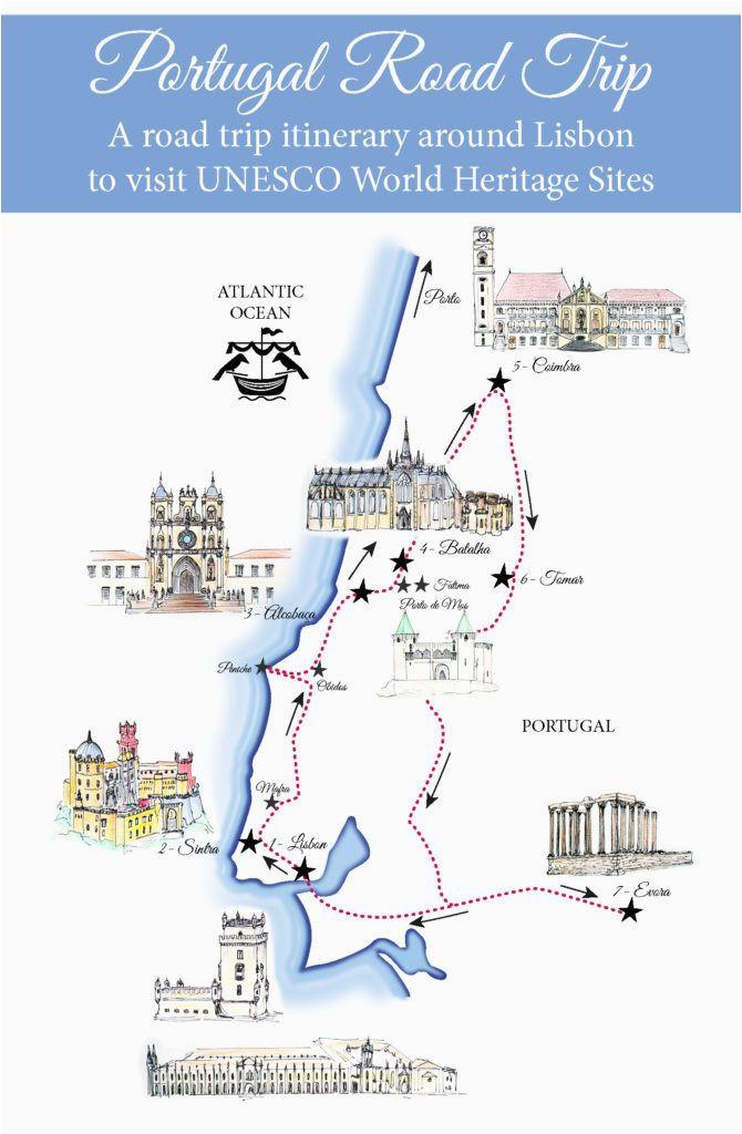 portugal road trip map a road trip itinerary around lisbon