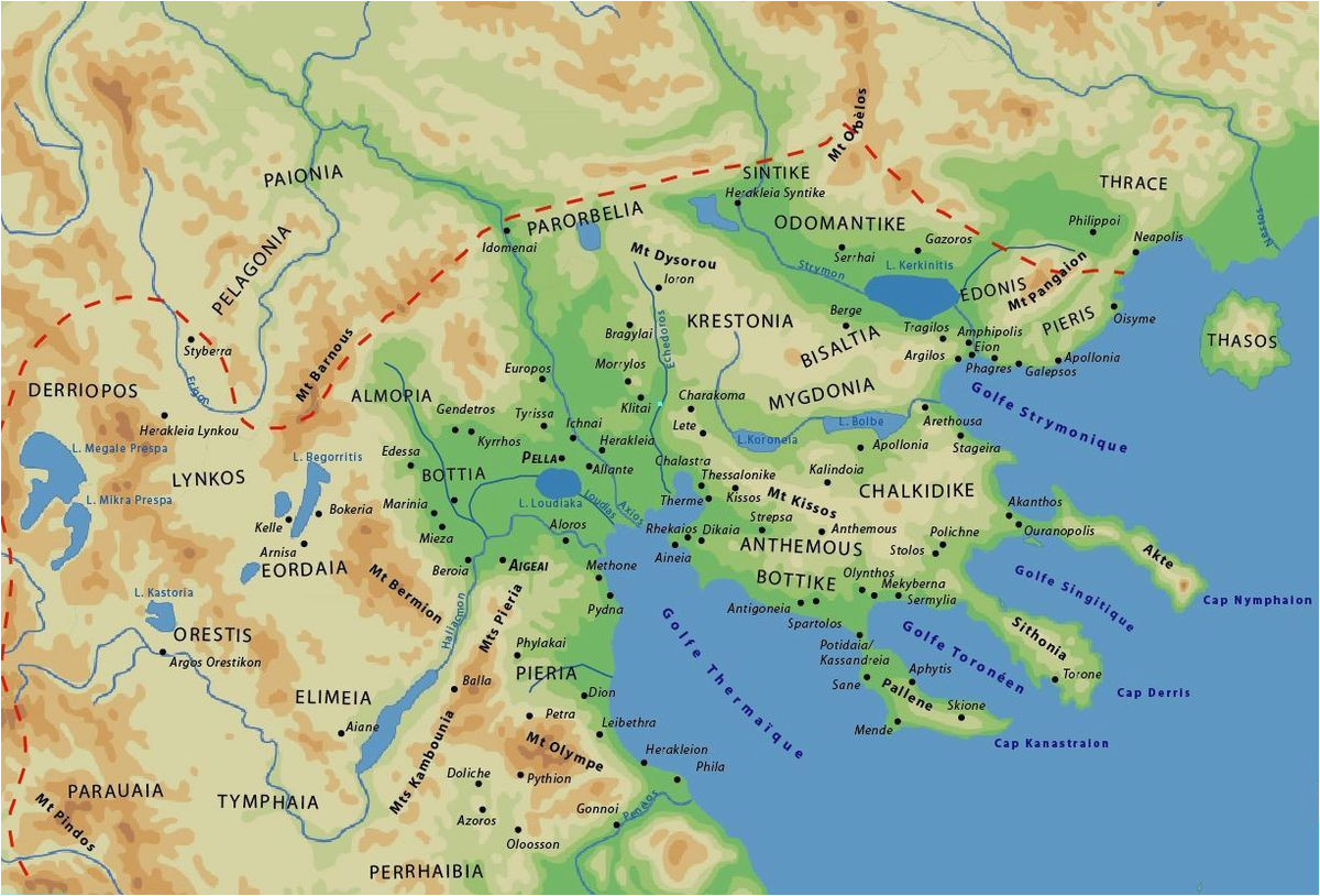map of the ancient greek kingdom of macedonia with