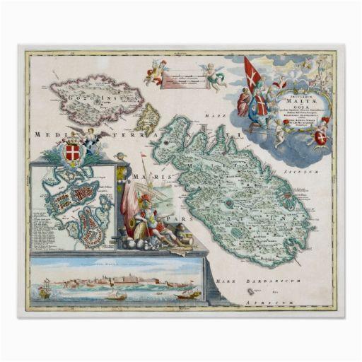 1720 malta map poster zazzle com old malta malta map