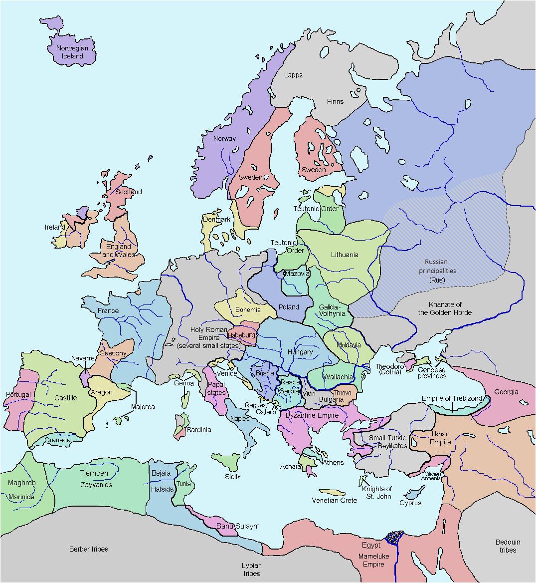 Map Europe 1300 atlas Of European History Wikimedia Commons