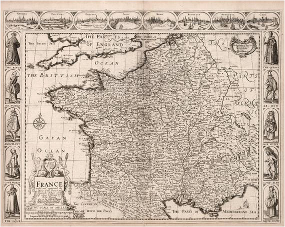 vintage map of france europe 17th century fine art reproduction mp013