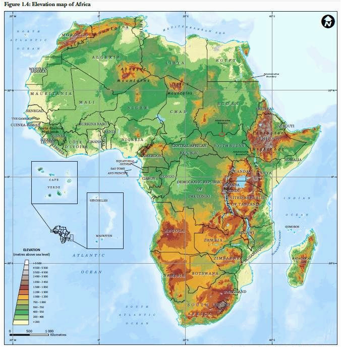 elevation map of africa maps africa african countries