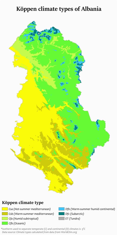 koppen climate types of albania maps albania map world