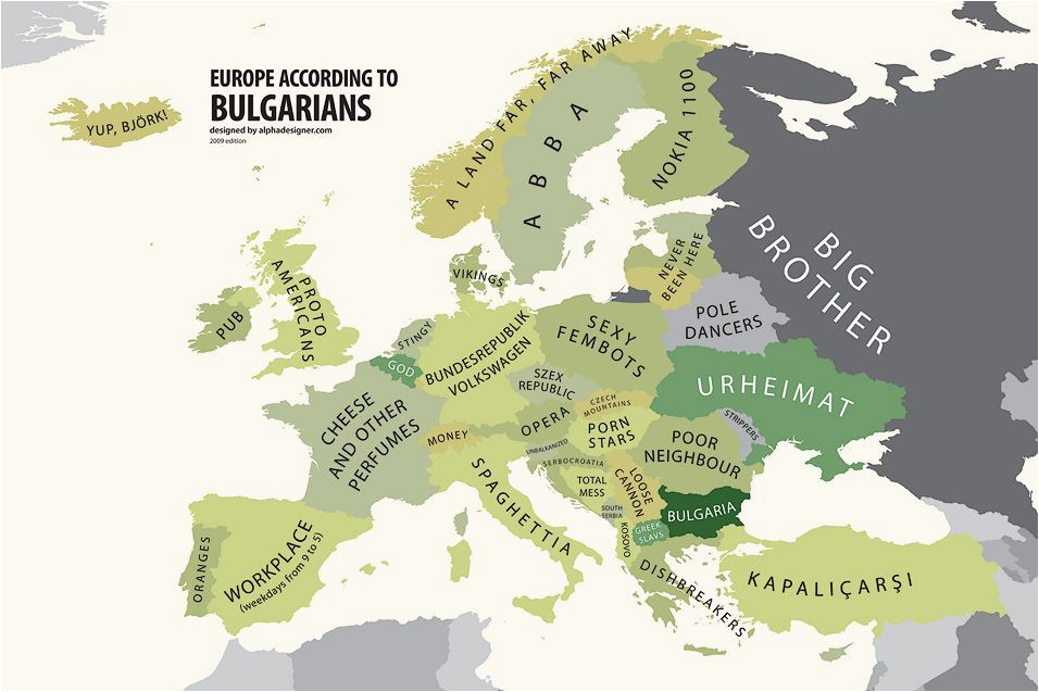 europe according to bulgaria print euro asian maps funny