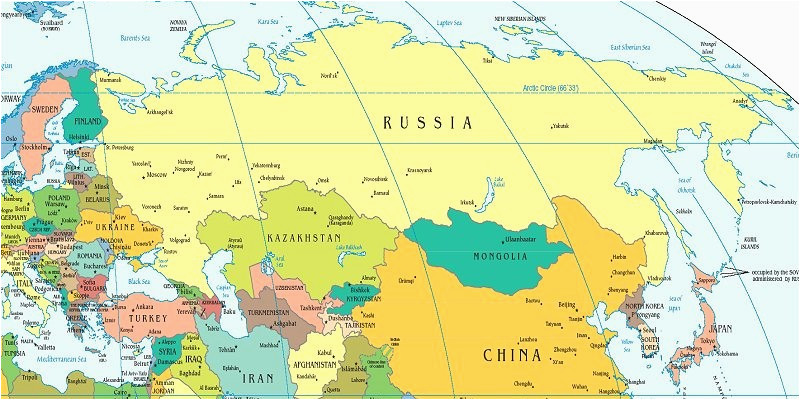 political map of russia and northern eurasia