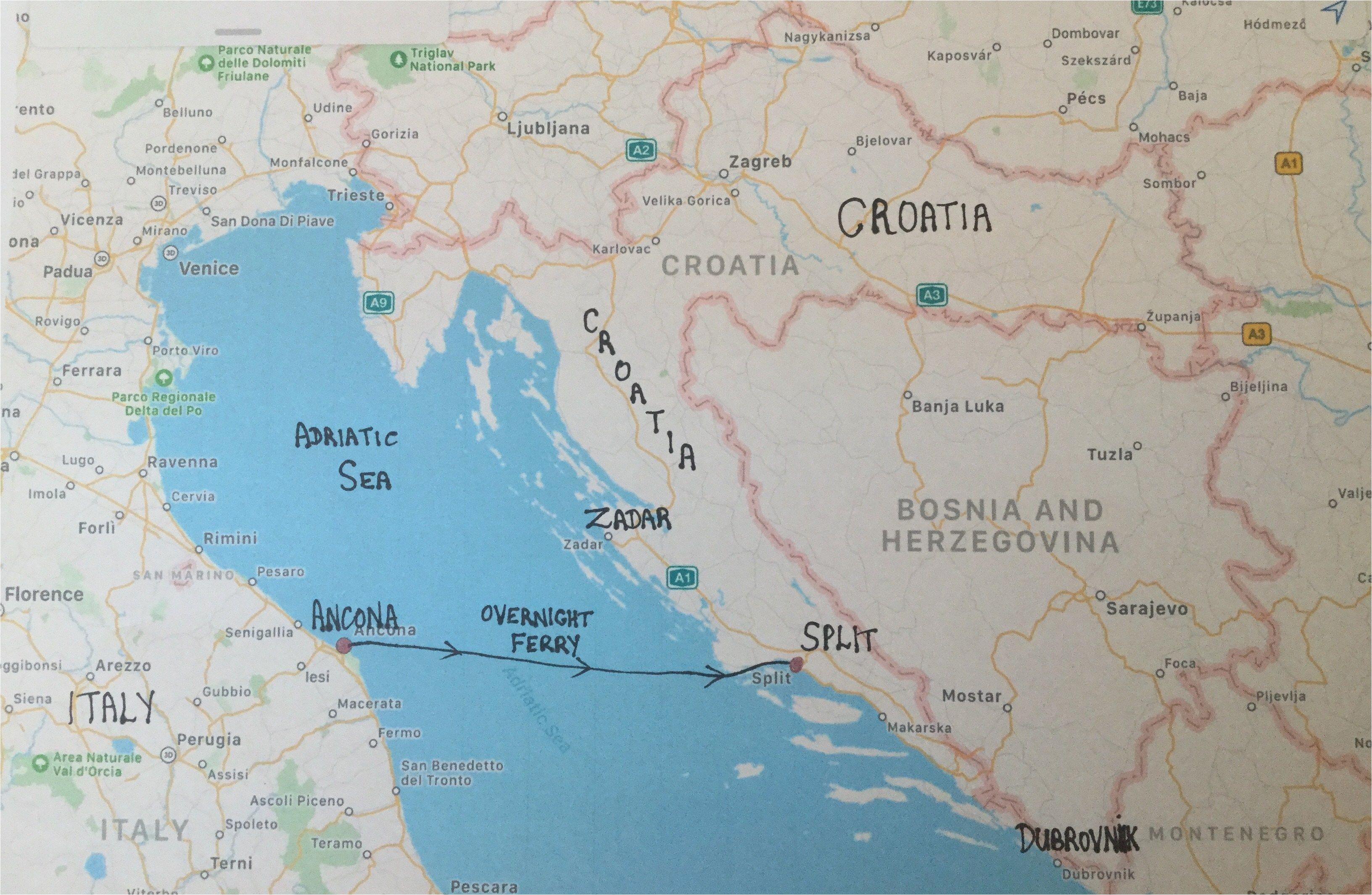 Map Of Croatia In Europe Map Of Italy and Croatia Secretmuseum