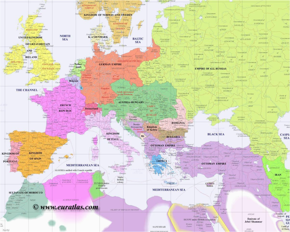 Map Of Eastern Europe 1900 Full Map Of Europe In Year 1900