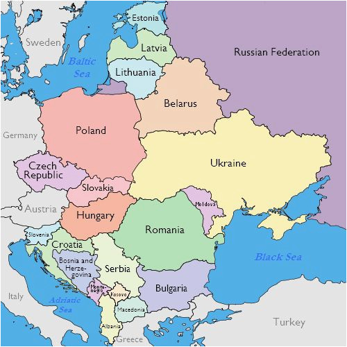 Map Of Eastern Europe and Russia Maps Of Eastern European Countries