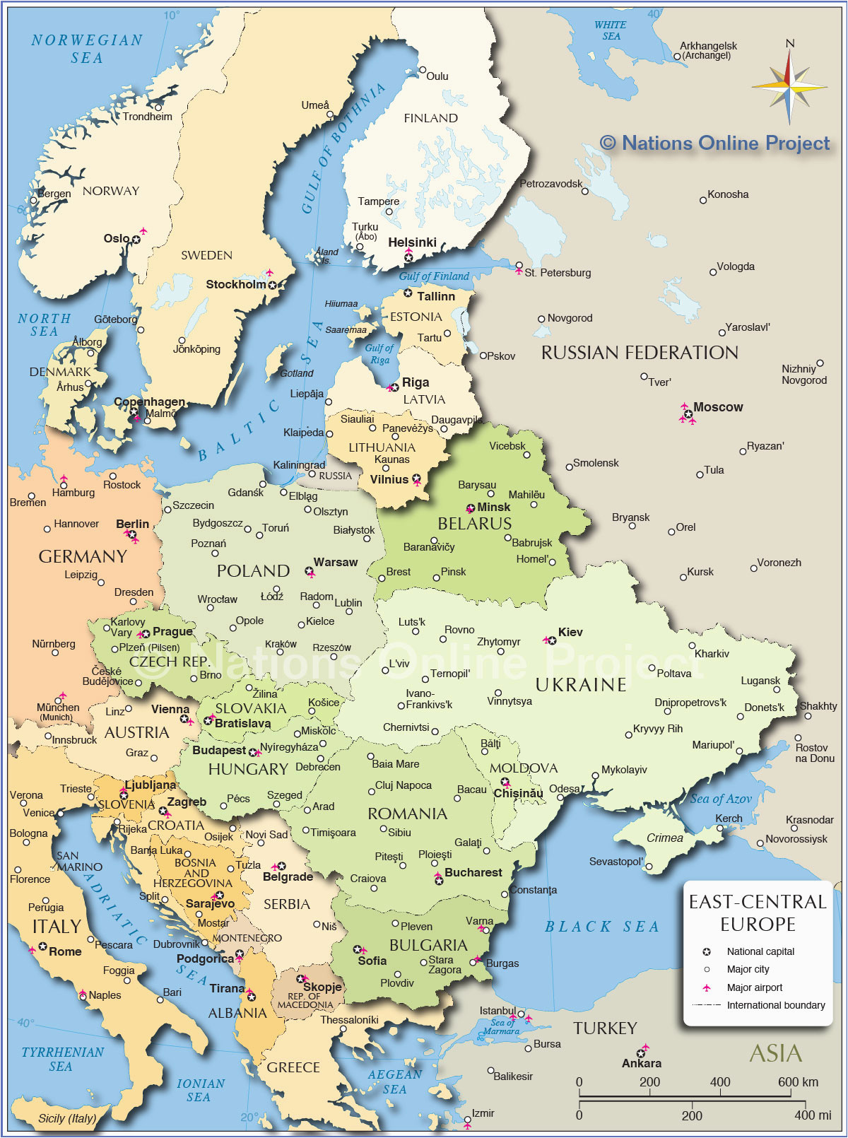 map of russia and eastern europe