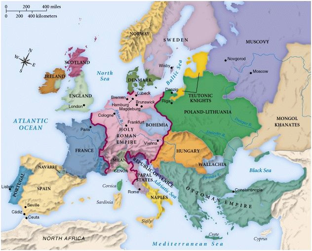 Map Of Europe 1492 442referencemaps Maps Historical Maps World History