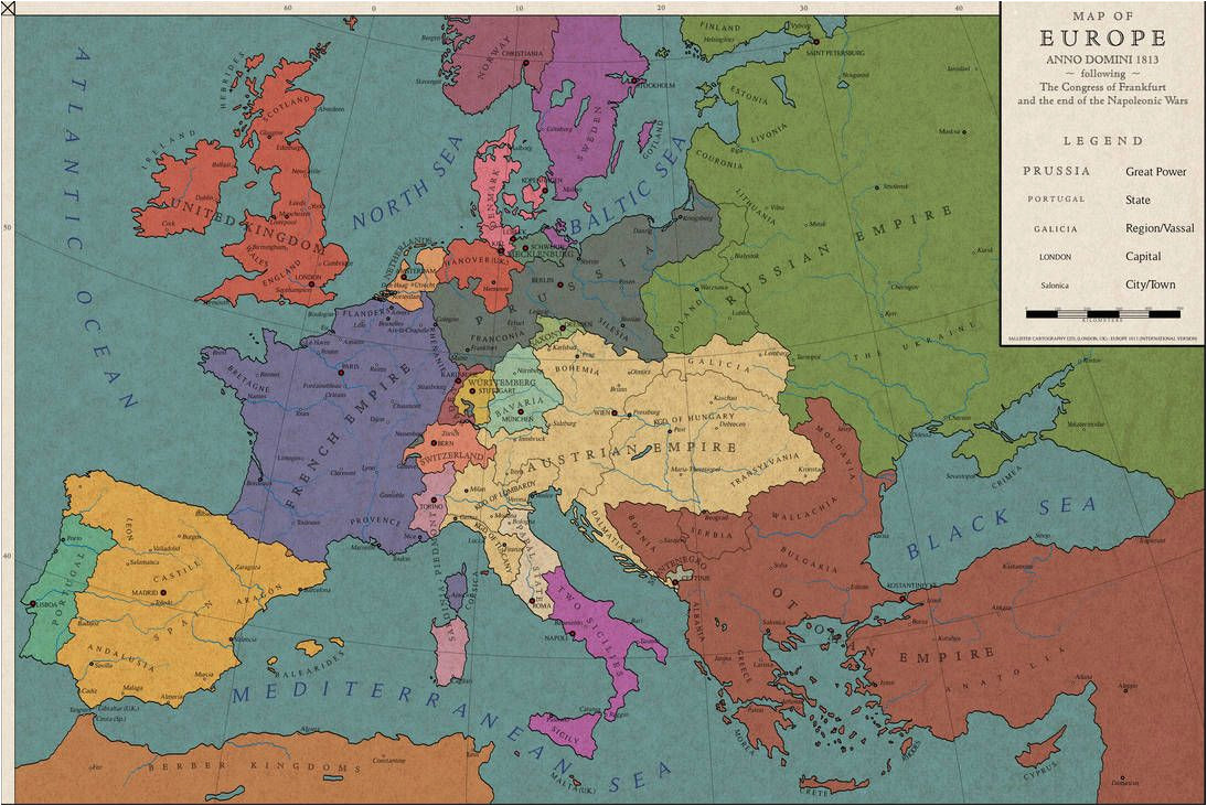 Map Of Europe 1550 Europe 1813 the Congress Of Frankfurt by Saluslibertatis On