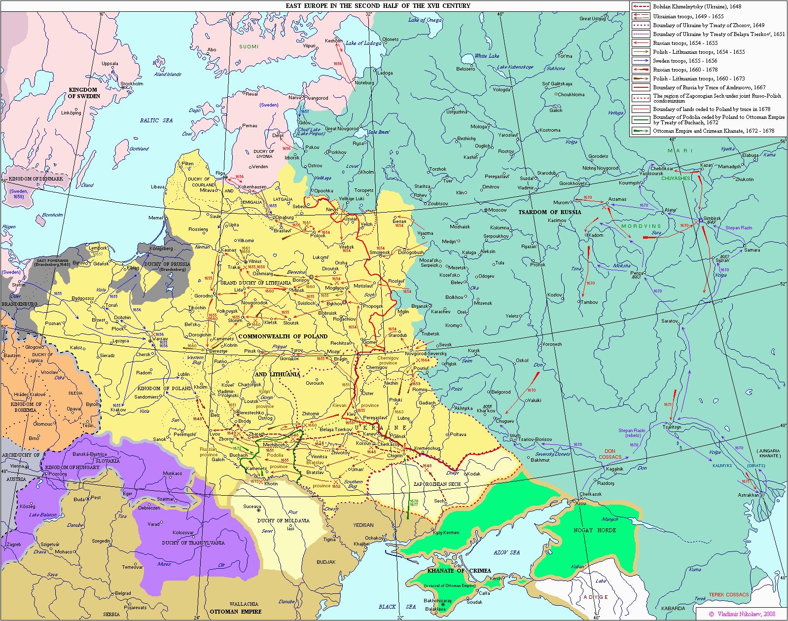 eastern europe in second half of the 17th century maps and