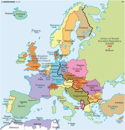 a map of europe during the cold war you can see the dark