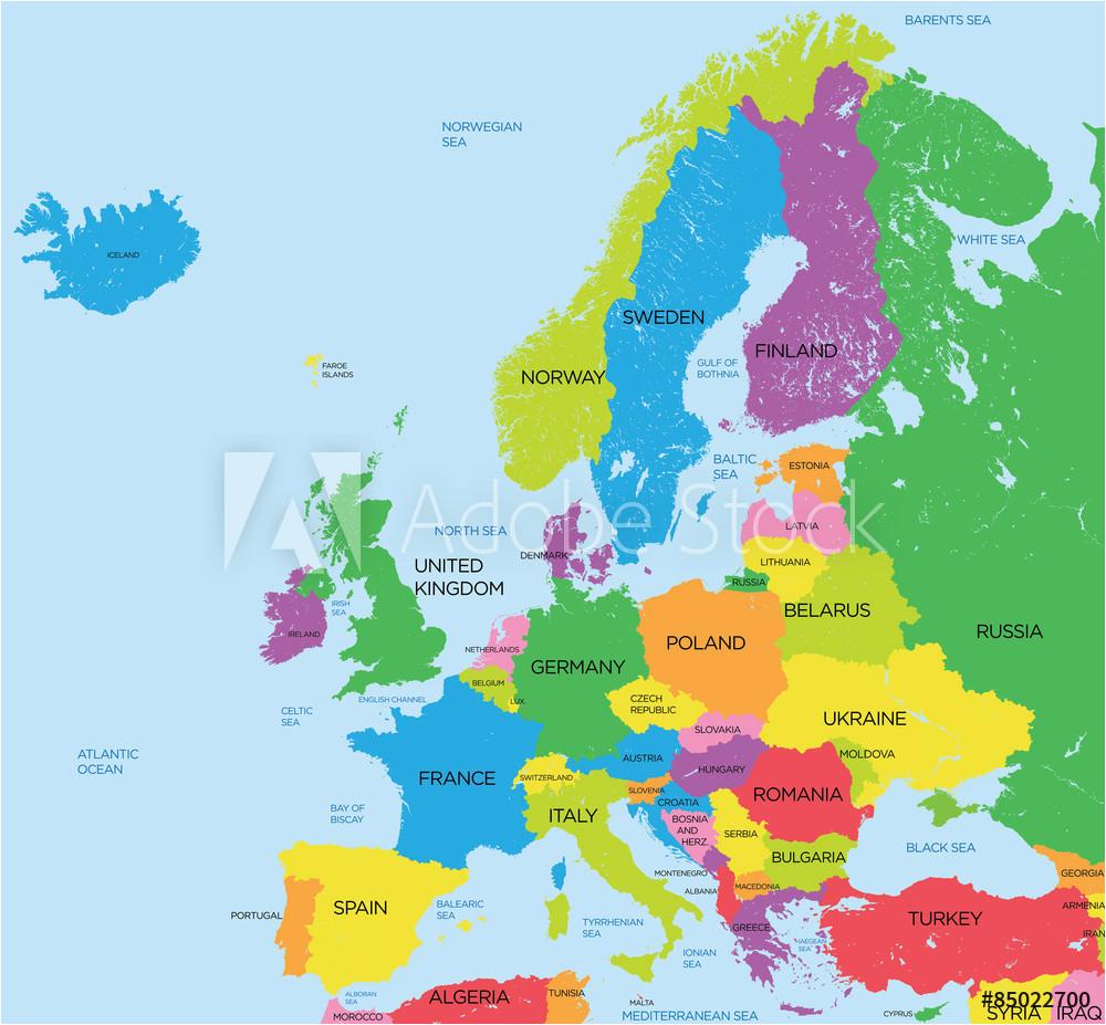 fotografie obraz political map of europe high detail