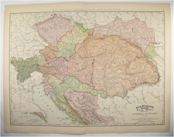 vintage large map austria hungary map 1896 antique map