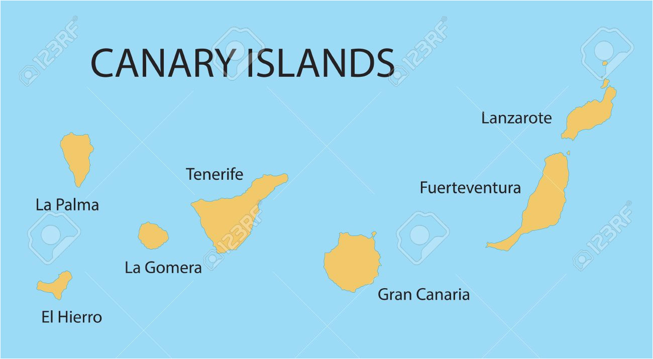 Map Of Europe Canary islands Yellow Map Of Canary islands