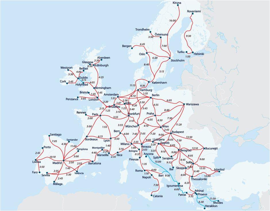 Map Of Europe Eurail European Railway Map Europe Interrail Map Train Map