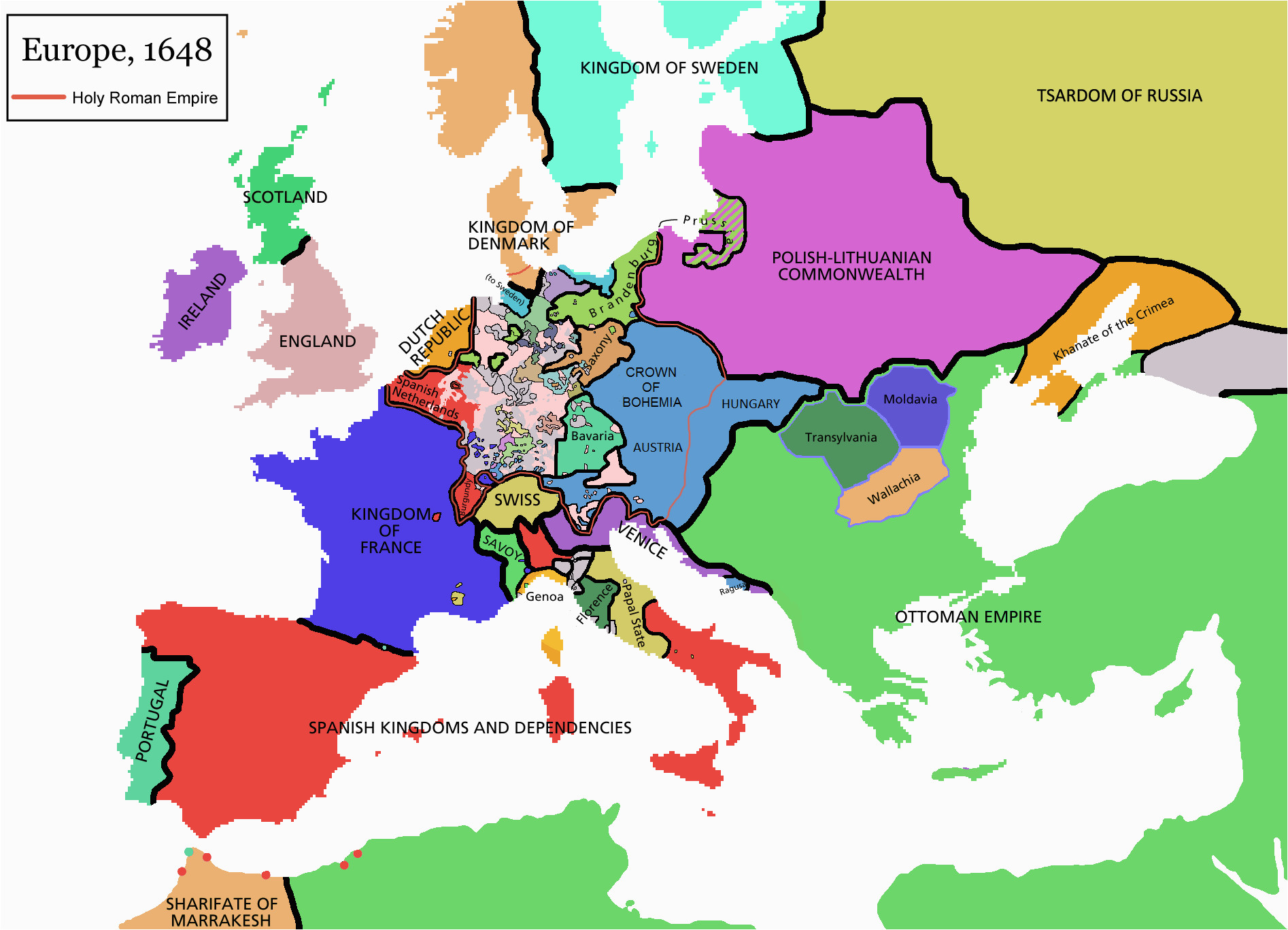 Map Of Europe In 1600 atlas Of European History Wikimedia Commons