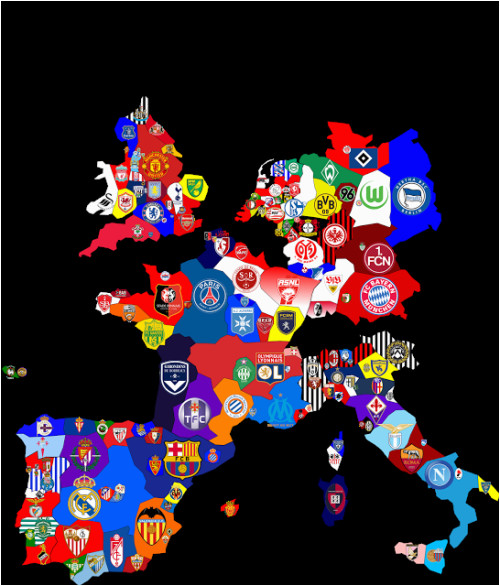 map of top division football clubs in major european leagues