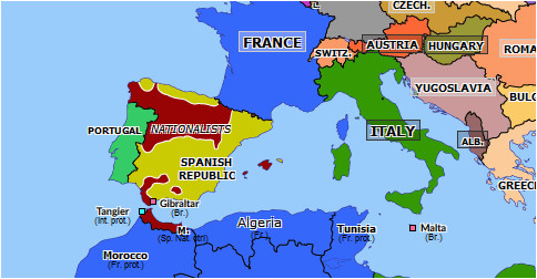 spain on the map of europe