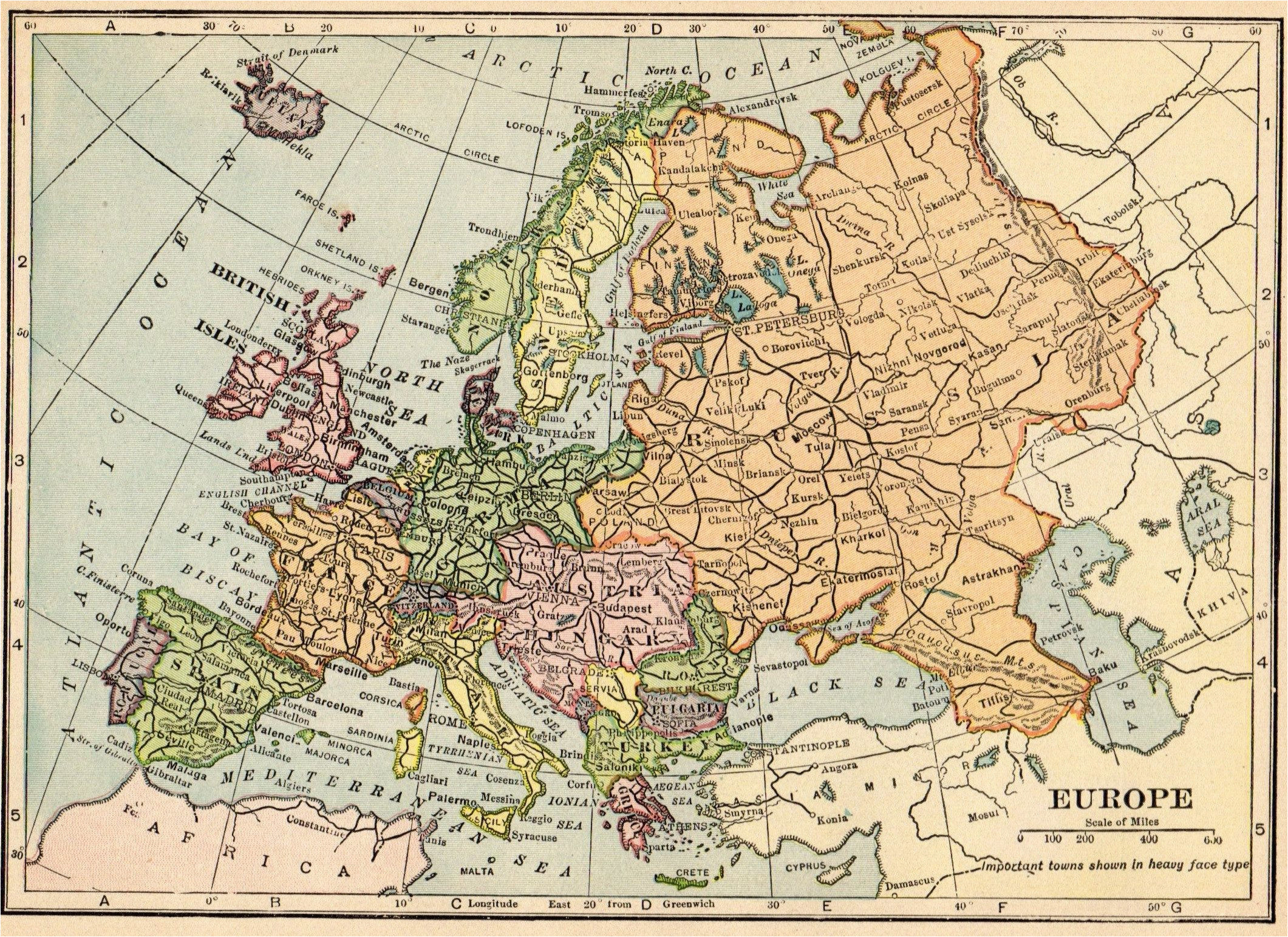 1913 antique europe map vintage map of europe gallery wall