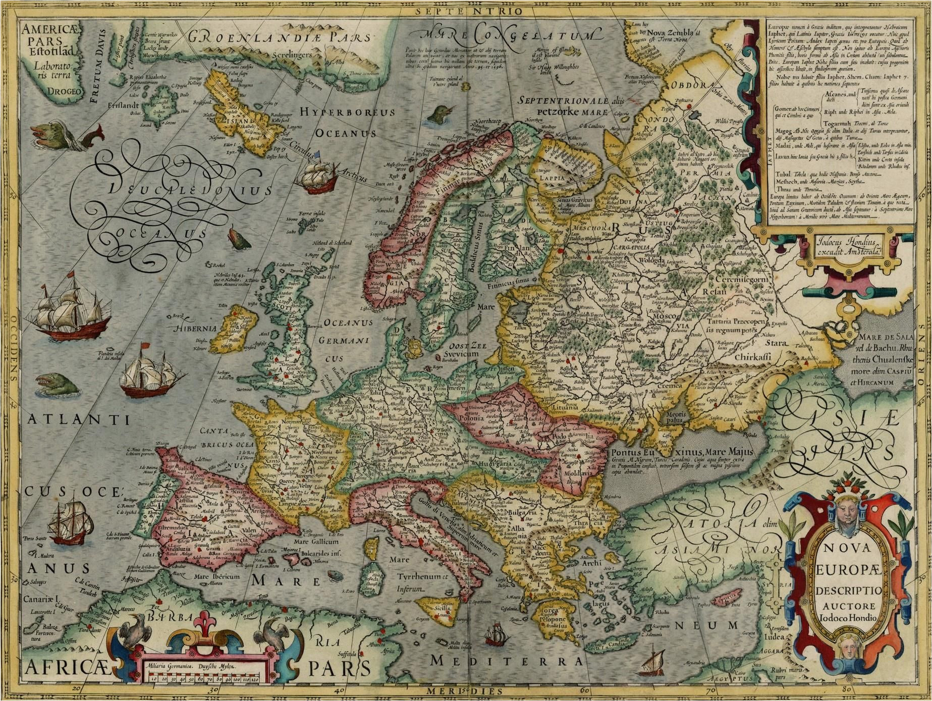 map of europe by jodocus hondius 1630 the map shows a