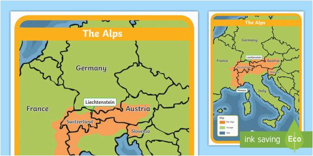 Map Of Europe Ks2 the Alps Map Habitat Mountain Climate Animals Europe
