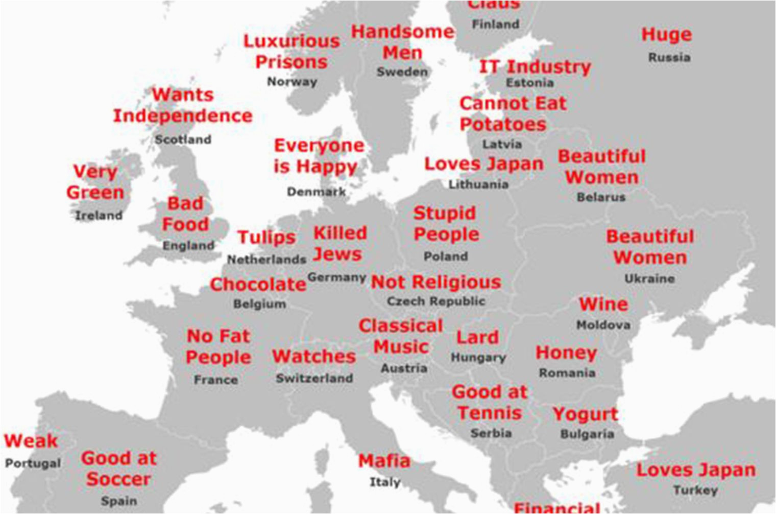 Map Of Europe Latvia the Japanese Stereotype Map Of Europe How It All Stacks Up