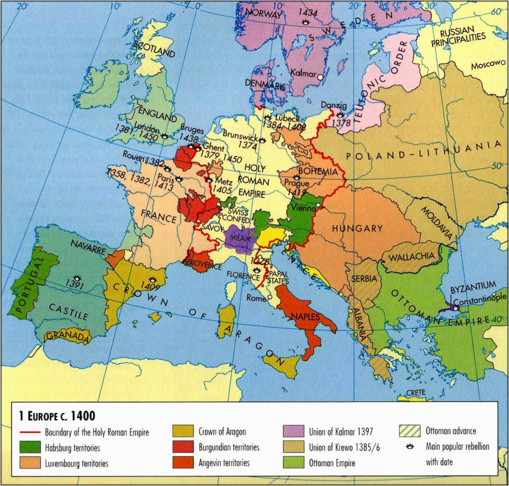 Map Of Europe Middle Ages Europe Map C 1400 History Historical Maps European