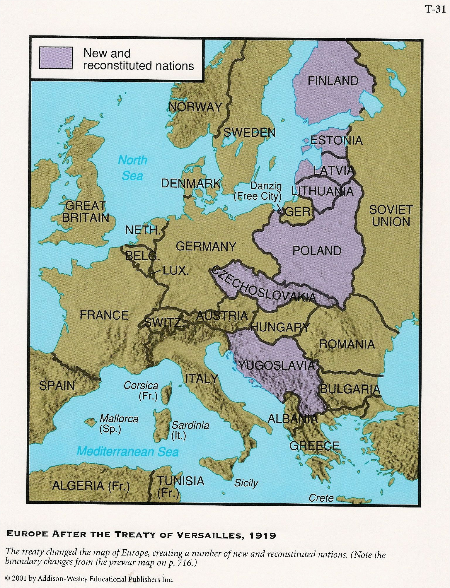 this is a picture of a map of europe after the treaty of