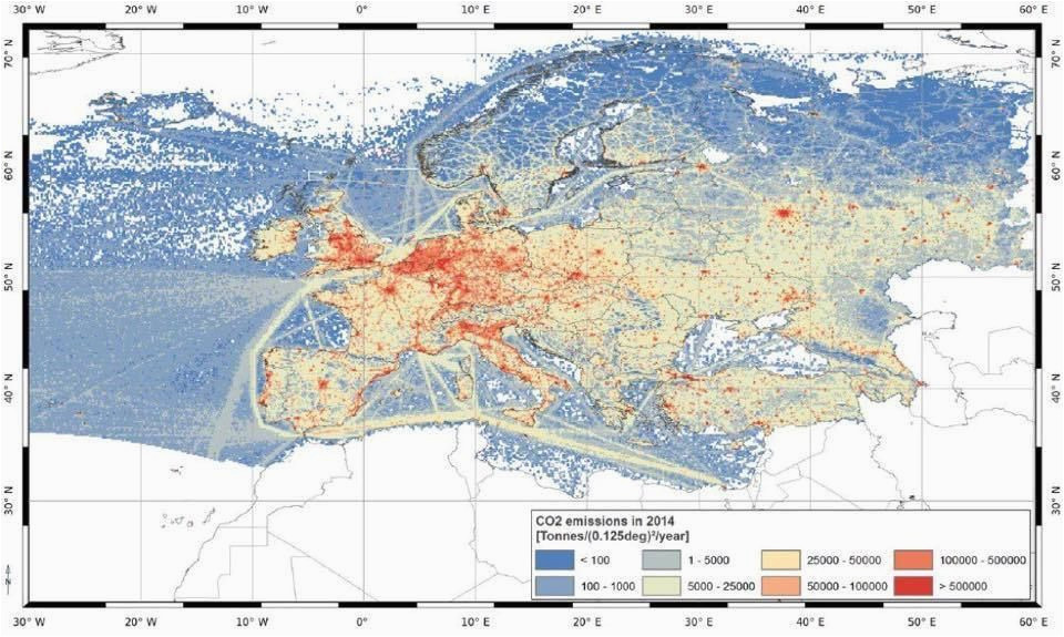 maps on the web co2 emissions in 2014 in europe maps
