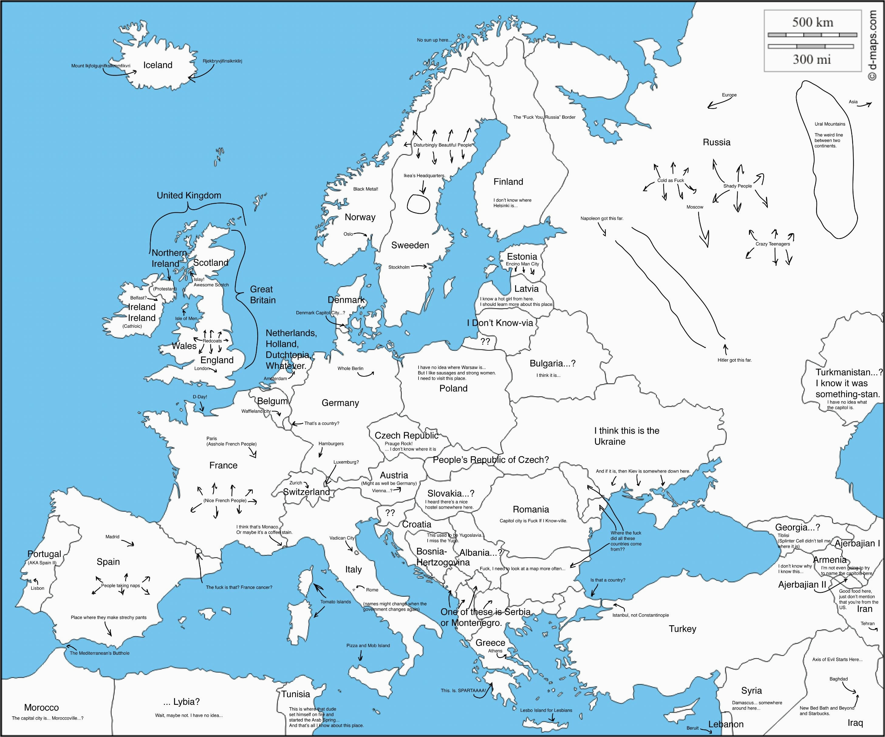 a map of europe with capital cities as labeled by an