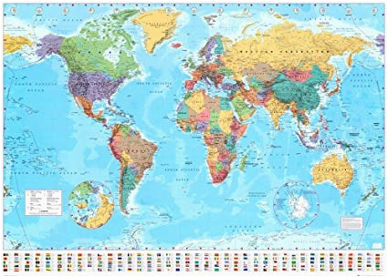 world map timezones country flags giant poster 100cm x 140cm