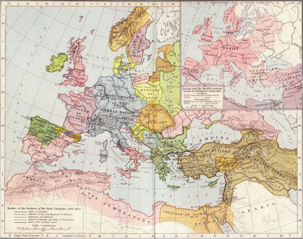 Map Of Europs A Map Of Europe In 1097 Ad the Time Of the First Crusade
