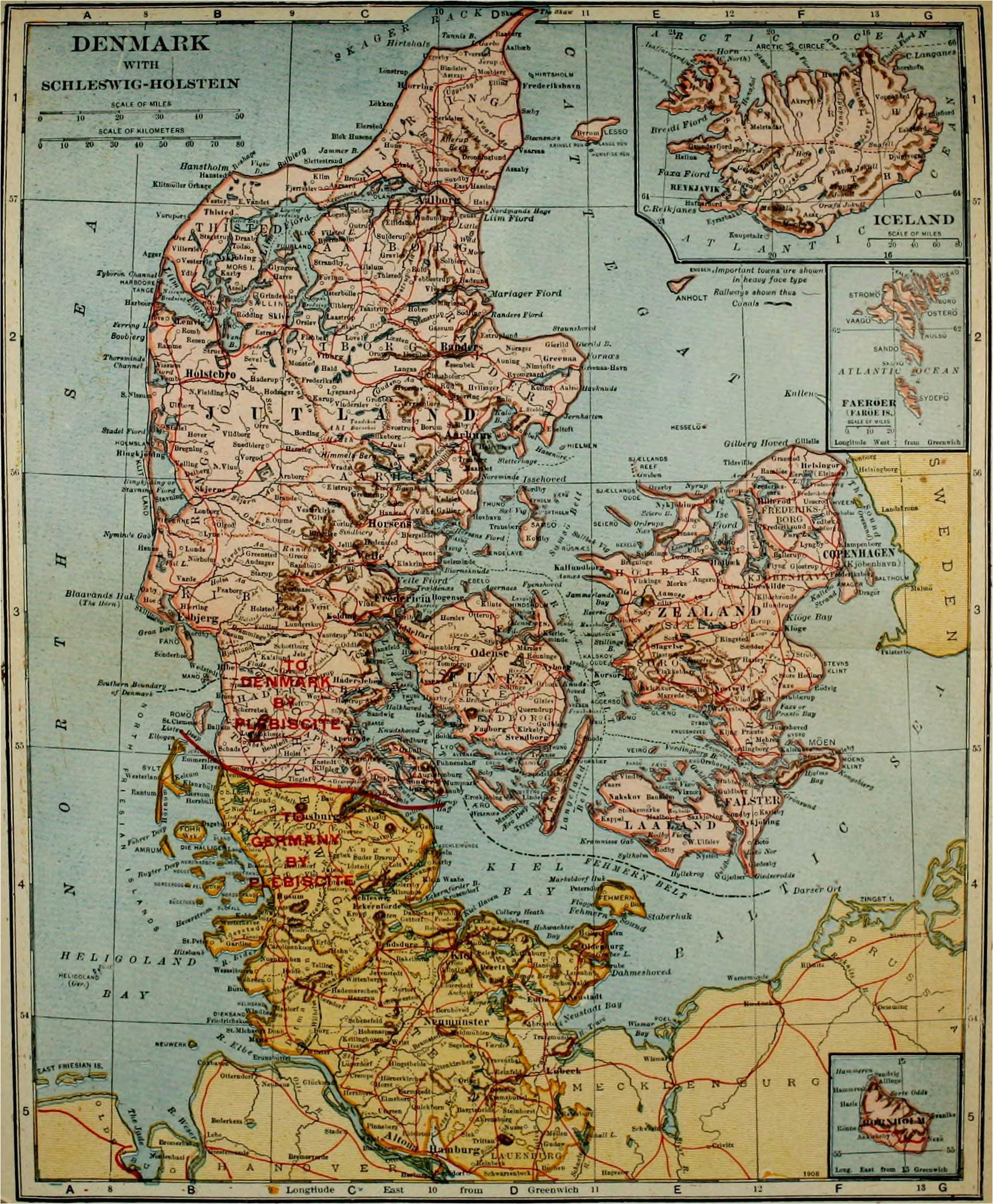 1921 map of denmark with insets of iceland faroe islands