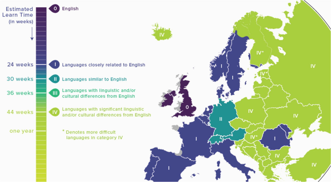 Map Of Languages Spoken In Europe Map Language Difficulty Ranking for English Speakers