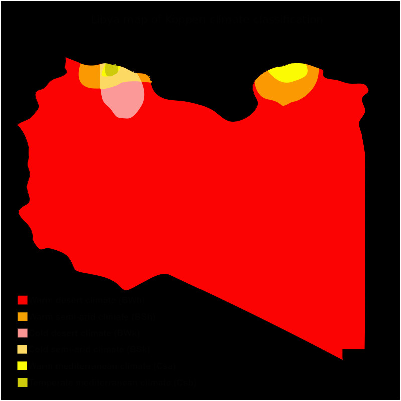 libya map of koppen climate classification africa cold