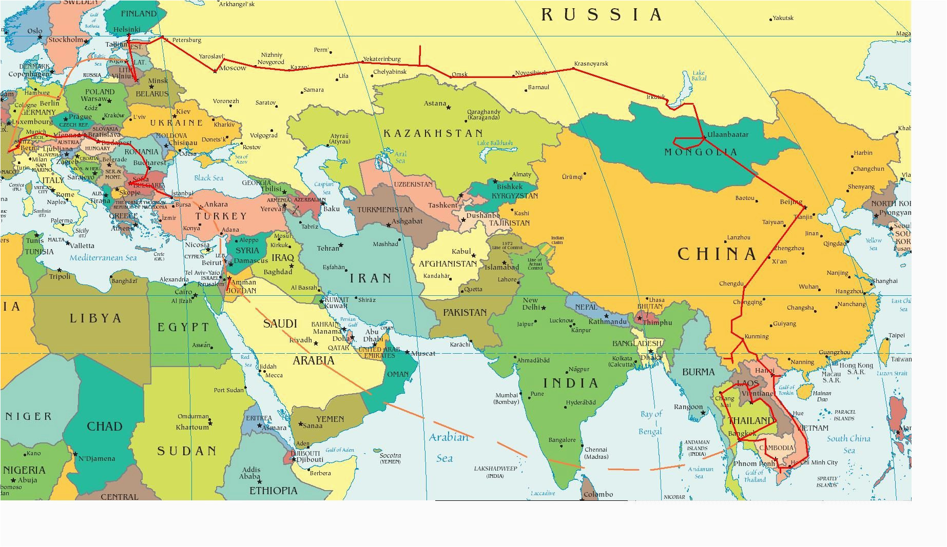 Map Of Mideast and Europe Eastern Europe and Middle East Partial Europe Middle East